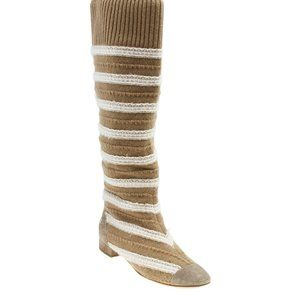 Chanel Striped Knee - High Bootsx Size 38 185022